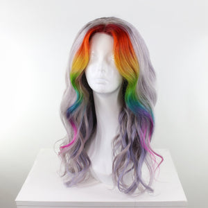 Silver & Rainbow Money Piece Highlight Custom Human Hair Lace Front Wig