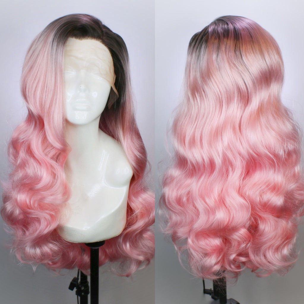 Bridgett Rooted Pastel Pink Lace Front Wig