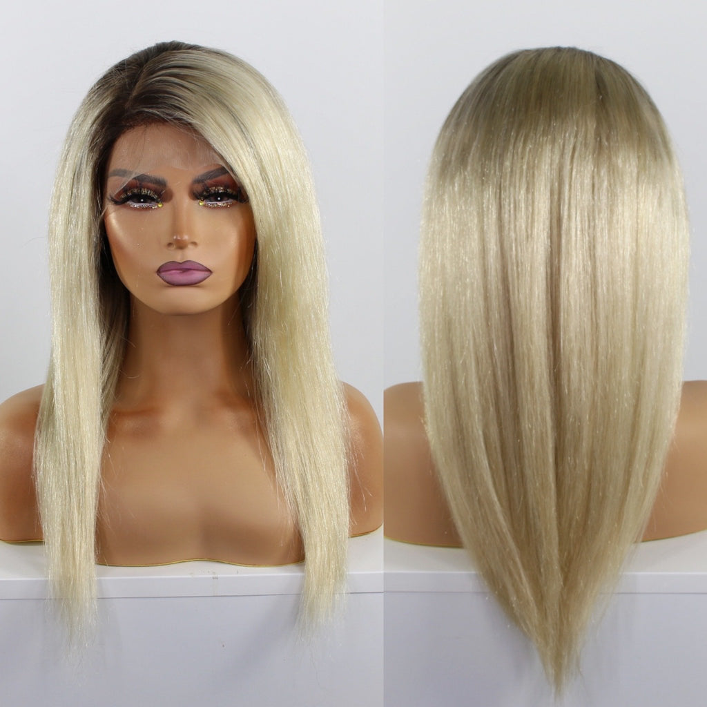 Platinum Blonde Rooted Custom Dyed Human Hair Lace Front Wig