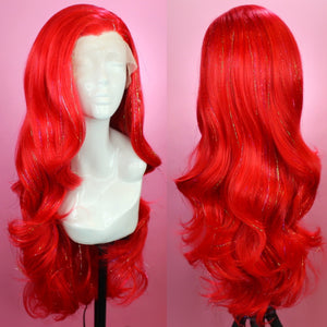 Ruby Red Tinsel Lace Front Wig