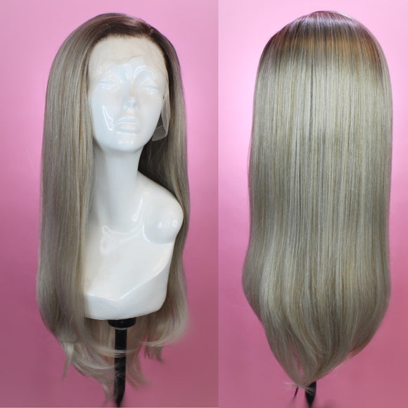 Charlotte Rooted Silver Ash Blonde Lace Front Wig