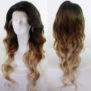 Brunette Ombré Custom Dyed Human Hair Lace Front Wig