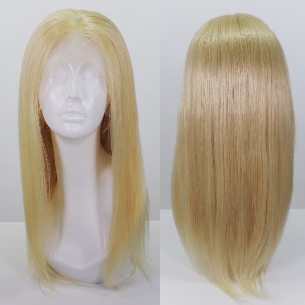 Platinum Blonde 613 Human Hair Lace Front Wig - Shoulder Length