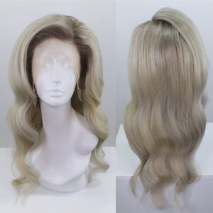 Ash Blonde Shadow Roots Custom Dyed Human Hair Lace Front Wig