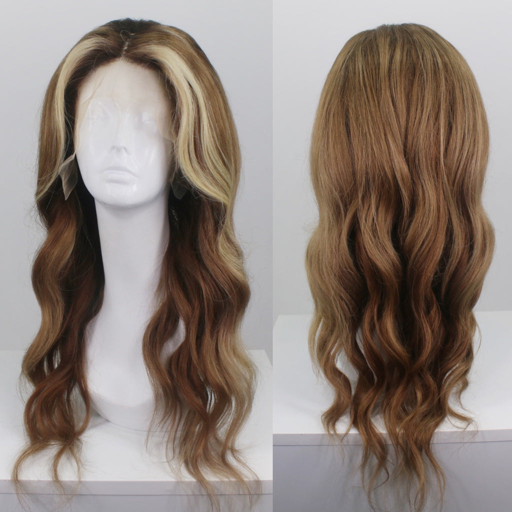 Brunette Money Piece Highlights Custom Human Hair Lace Front Wig