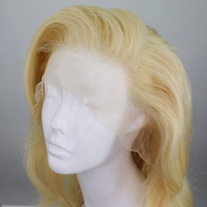 Platinum Blonde Shadow Roots Custom Dyed Human Hair Lace Front Wig