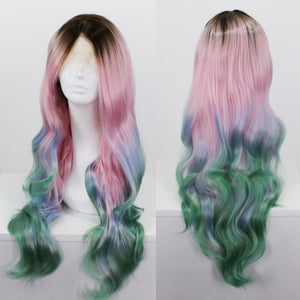 Stephanie Rooted Pink, Blue, Green Ombre Lace Front Wig
