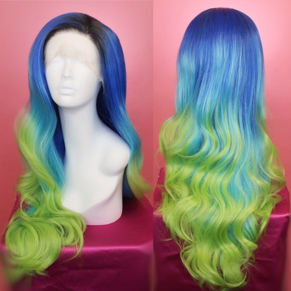 Stephanie Blue Green Ombré Lace Front Wig