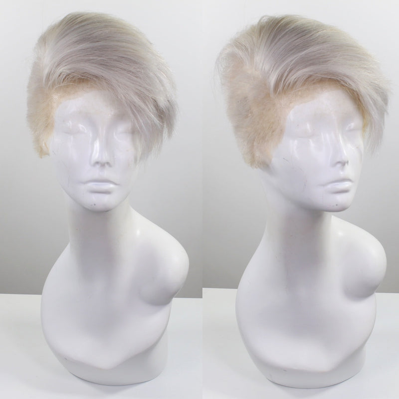Men's Wig: Silver Human Hair Full Lace Wig