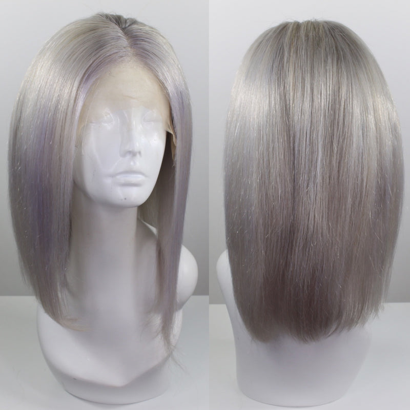 Silver Bob Custom Dyed Human Hair Lace Front Wig