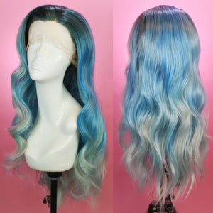 Bridgett Ocean Blue Lace Front Wig, Drag Queen Wig