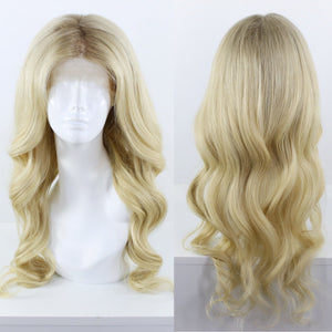 Lightest Ash Blonde Shadow Roots Custom Dyed Human Hair Lace Front Wig