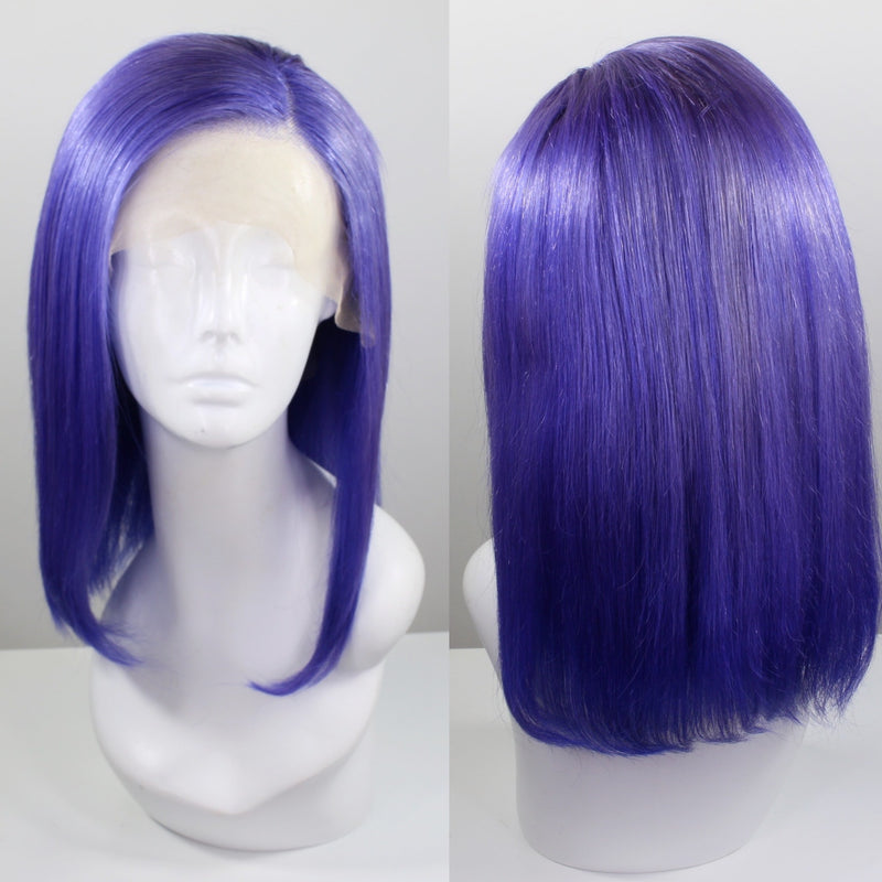 Purple Bob Custom Dyed Human Hair Lace Front Wig