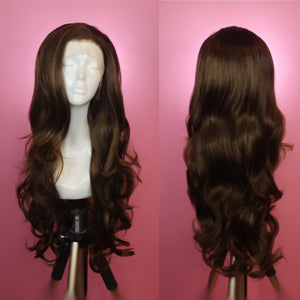 Evelyn Brunette w/ Highlights Lace Front Wig