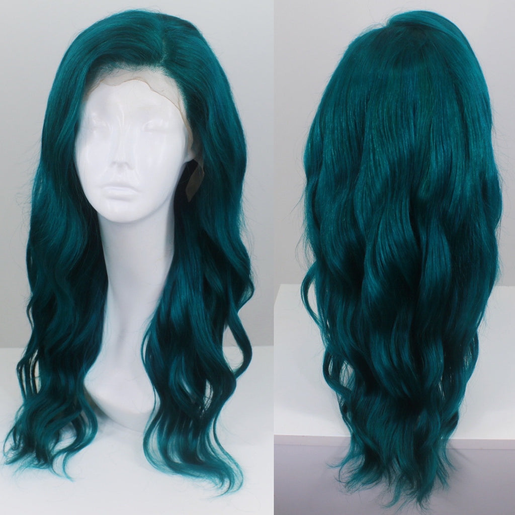 Mermaid Green Custom Dyed Human Hair Lace Front Wig
