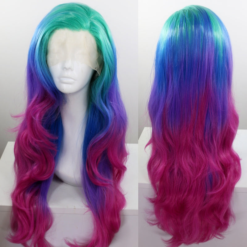 Evelyn Multicolor Blue, Green, Purple Lace Front Wig