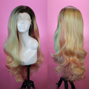 Evelyn Rooted Blonde Rainbow Lace Front Wig
