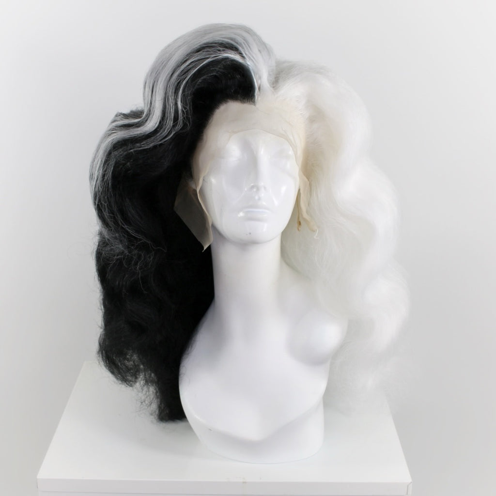 Black & White Split Finger Waves Wig