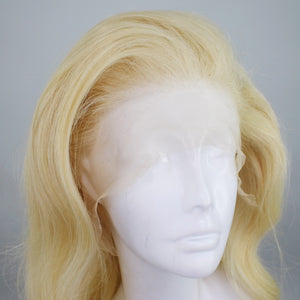 Silver Blonde Human Hair Custom Dyed Lace Front Wig