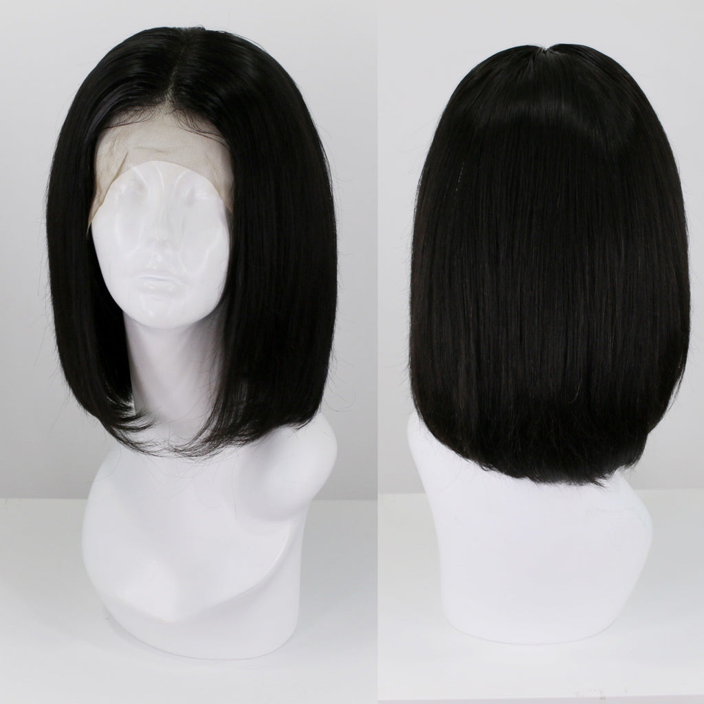 Natural Black Bob Human Hair Lace Front Wig