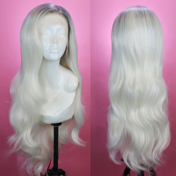 Stephanie Silver Rooted White Lace Front Wig