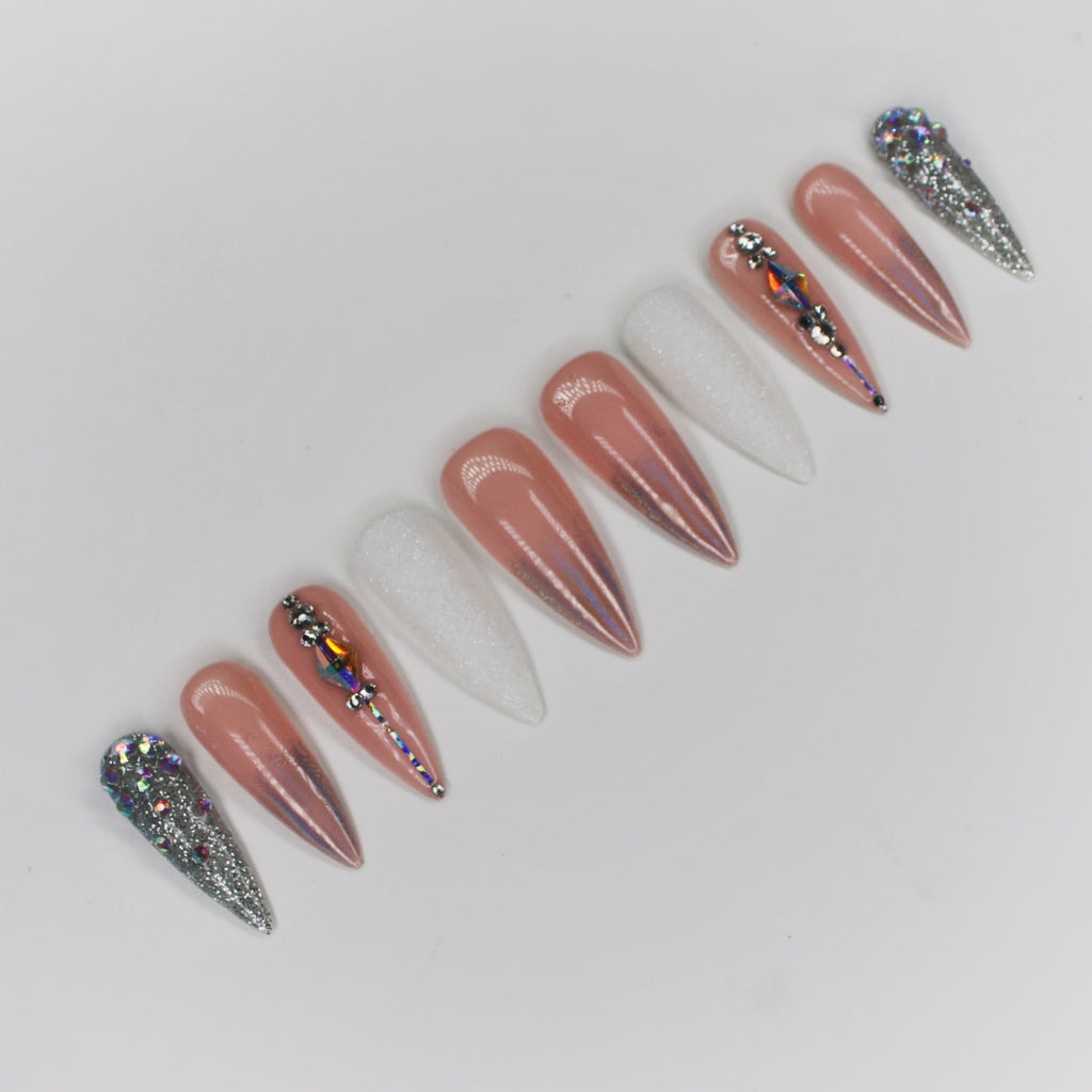 Nude Holographic Bling Stiletto Press On Nails