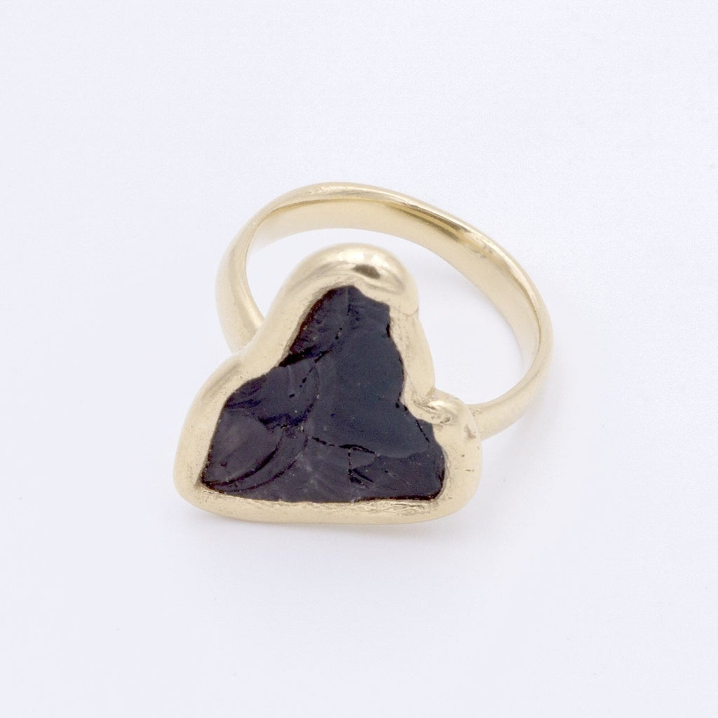 Obsidian And Gold Ring
