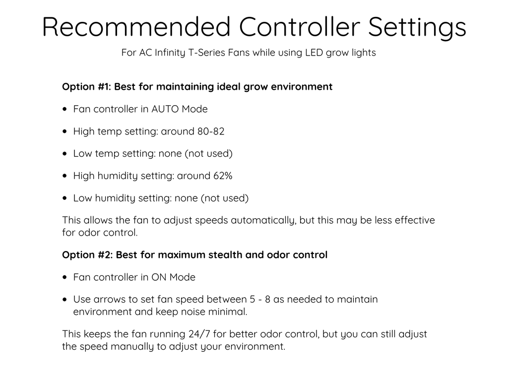 Ventilation Guide- Smart Controller Settings