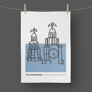 Liverpool - Tea Towel Liver Building Blue