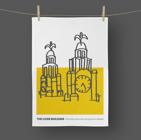 Liverpool - Tea Towel Liver Building Mustard