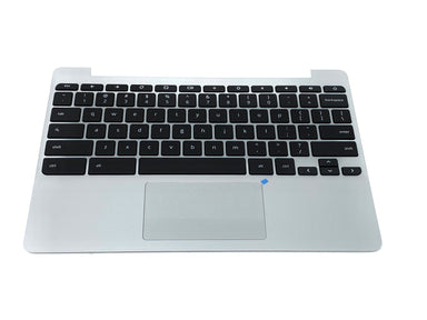 HP Chromebook 11 G5 & V-Series Palmrest Keyboard Assembly w/Touchpad- 900818-001 (Silver)
