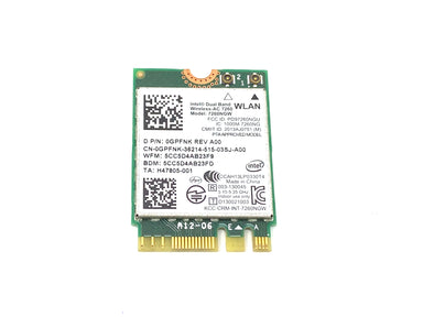 Intel Dual Band Wireless Bluetooth Card 7260NGW 802.11 ac/a/b/g/n - 0GPFNK / GPFNK