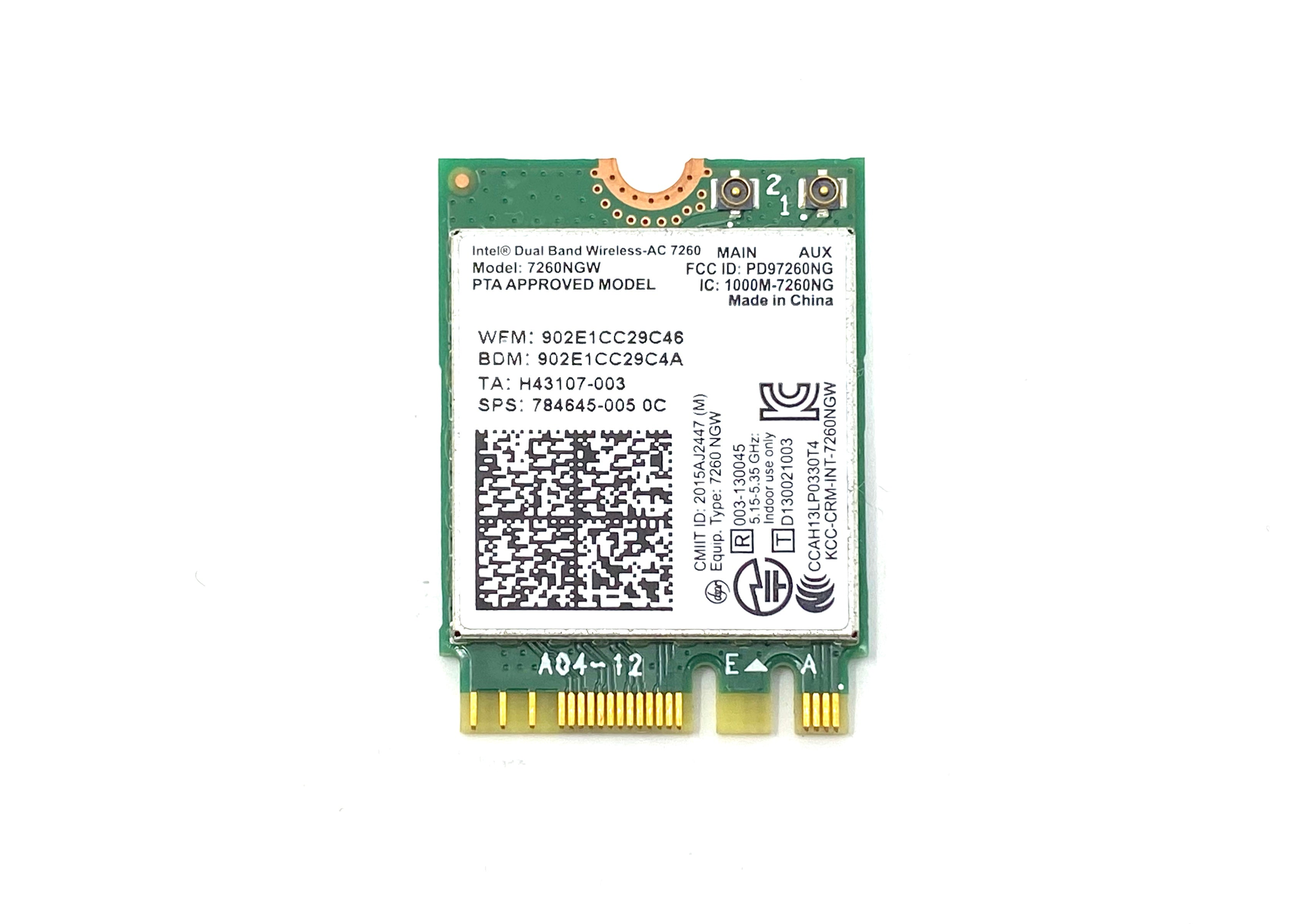Intel Dual Band Wireless-AC 7260 802.11 ac 2x2 WiFi and Bluetooth 4.0 combination WLAN adapter - 784645-005