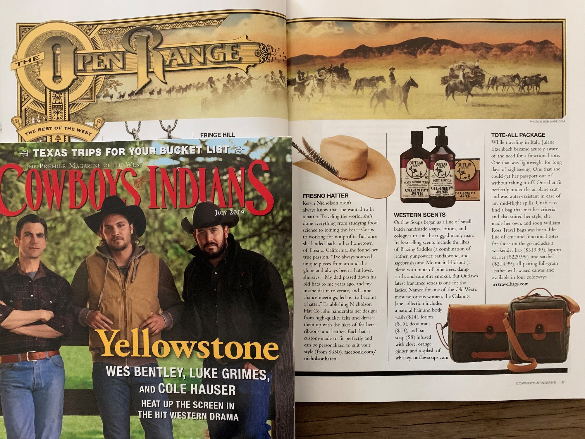 TOTE-ALL PACKAGE:  Cowboys & Indians Magazine The Open Range, edit feature
