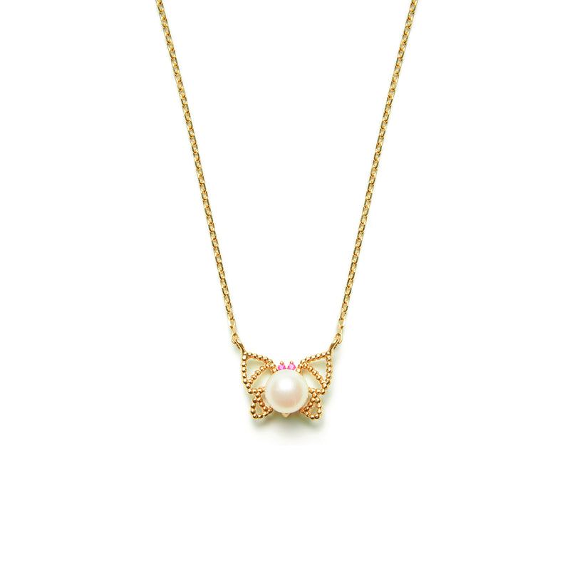 14k gold pearl&ruby butterfly Necklace - LODAGOLD