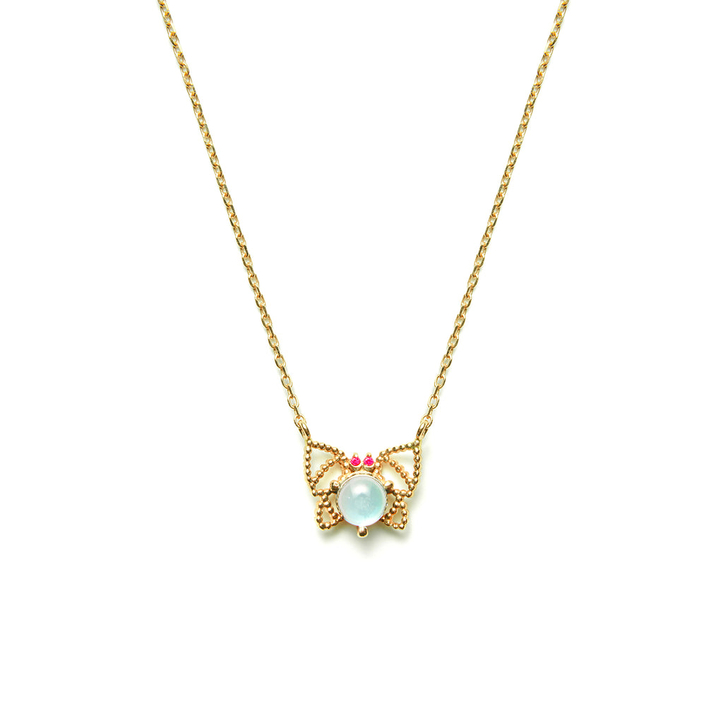 14k gold blue topaz&ruby butterfly Necklace - LODAGOLD