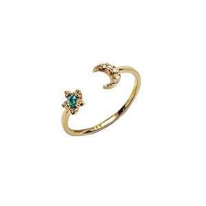 14k gold Blue&Grey Dia Star&Moon Ring - LODAGOLD