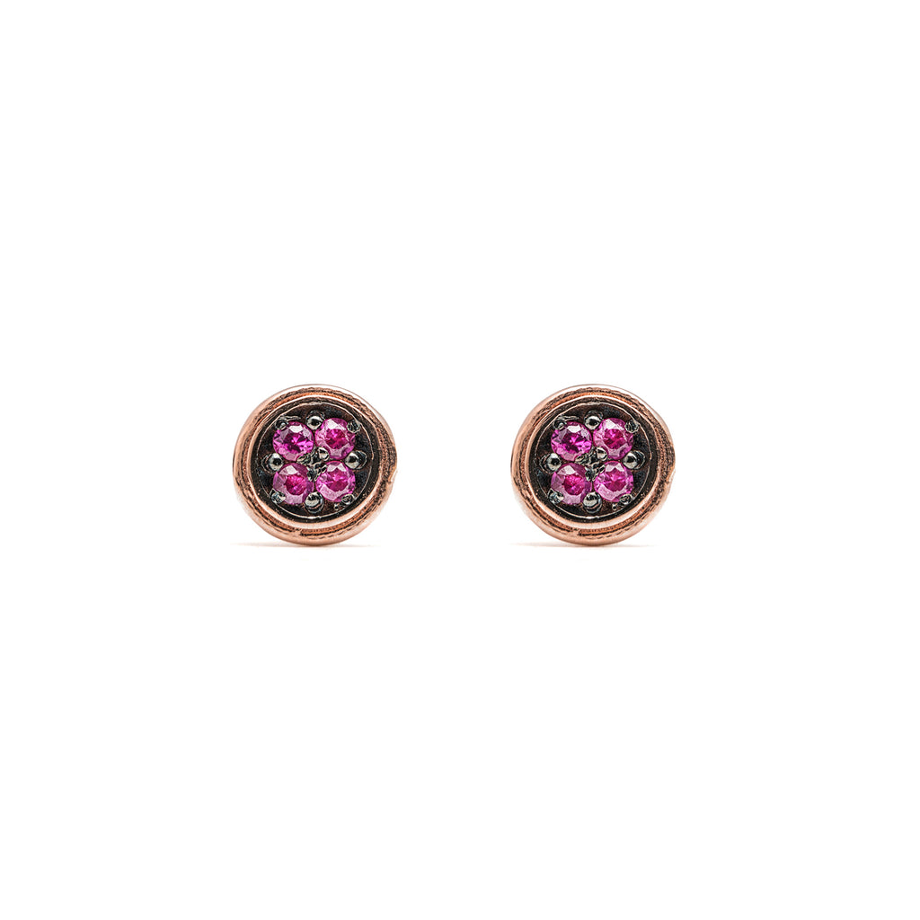 14k gold ruby Double round stud earrings - LODAGOLD