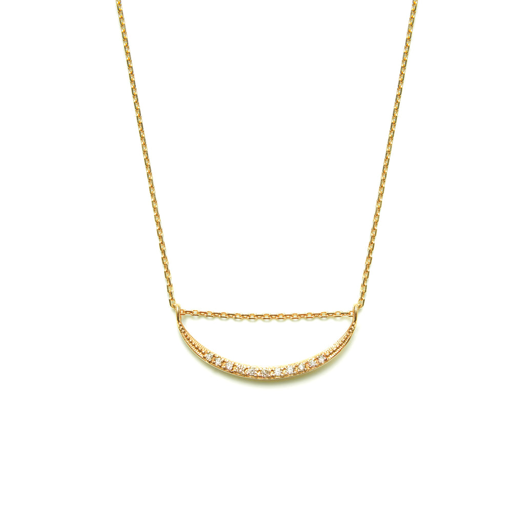 14k gold diamond moon Necklace - LODAGOLD