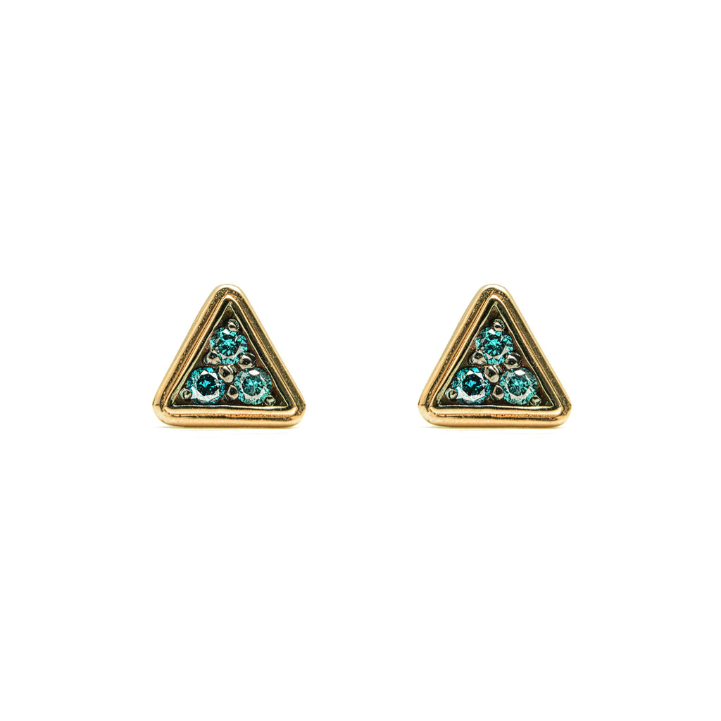 14k gold blue diamond Double triangle stud earrings - LODAGOLD