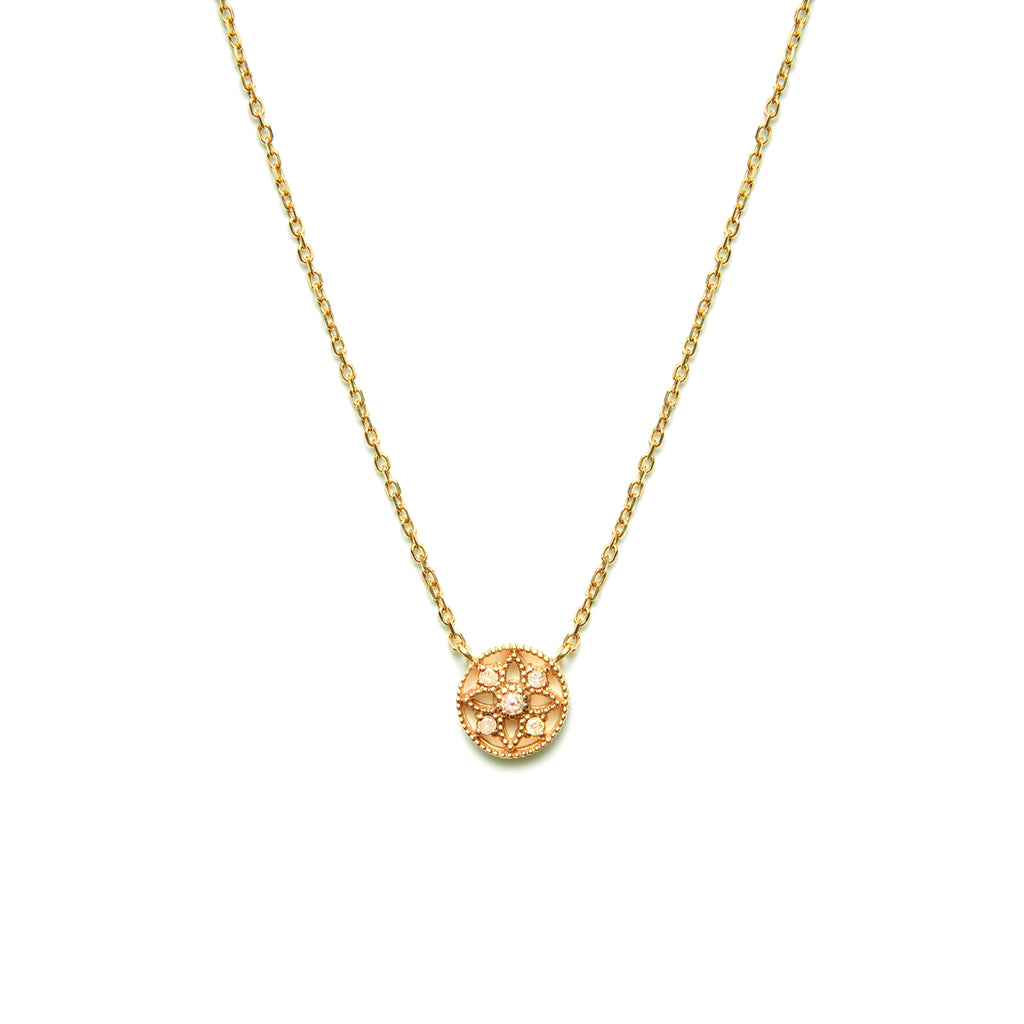 14k gold grey diamond Necklace - LODAGOLD