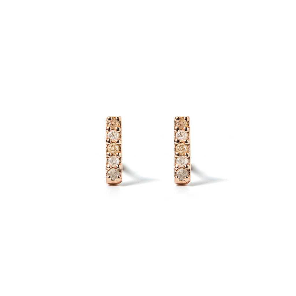 14k gold grey diamond stud earrings - LODAGOLD