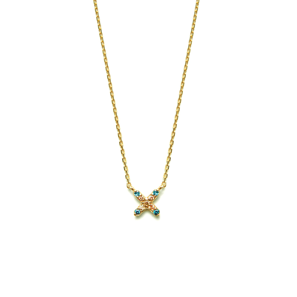 14k gold cognac&blue diamond X Necklace - LODAGOLD