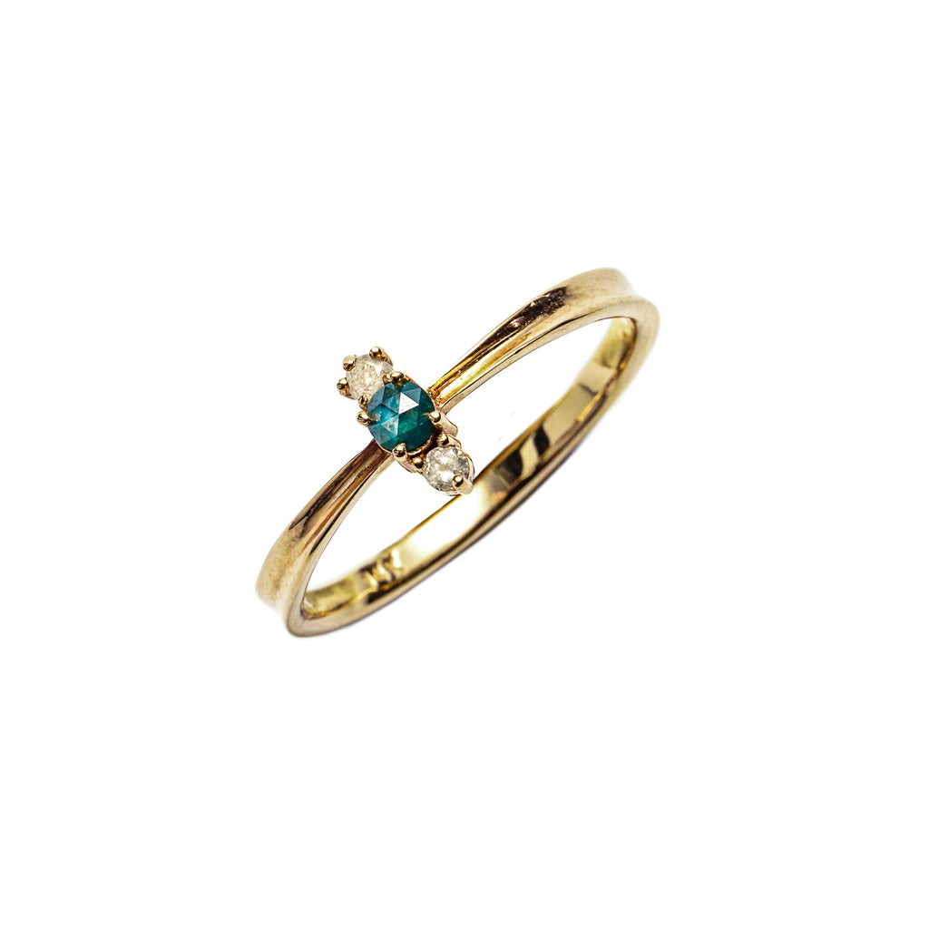 14k gold blue&grey diamond ring - LODAGOLD