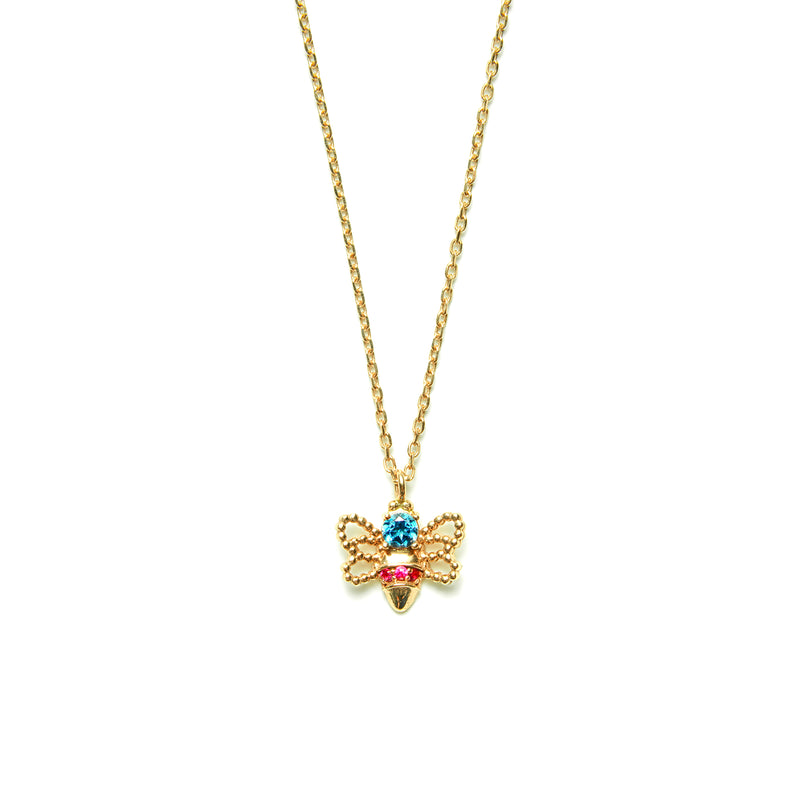 14k gold blue topaz&ruby bee Necklace - LODAGOLD