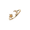 14k gold Moon&Star yellow&grey diamond Cuff Ring - LODAGOLD