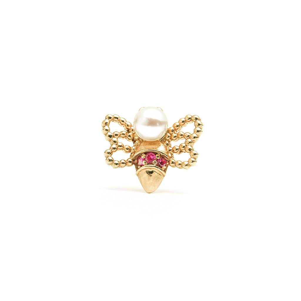 14k gold pearl&ruby bee single earring - LODAGOLD