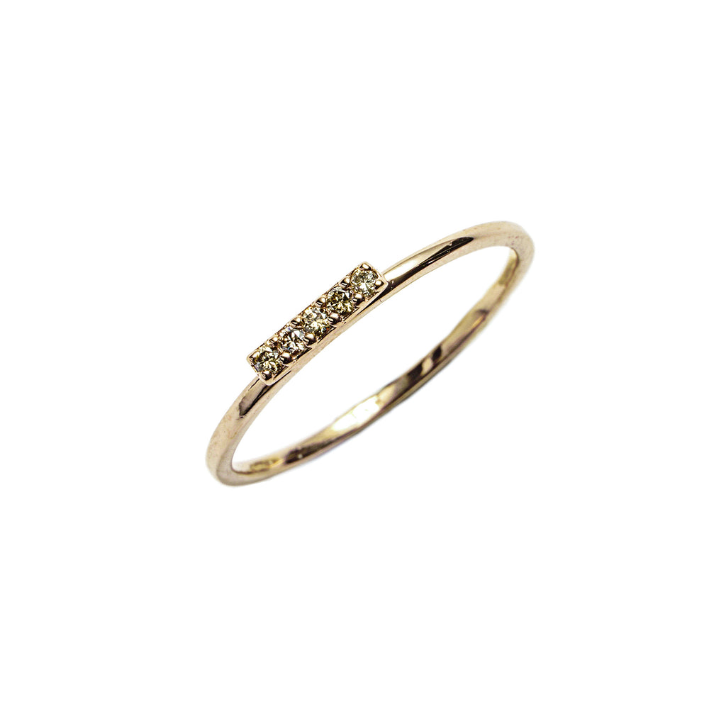 14k gold bar cognac diamond ring - LODAGOLD