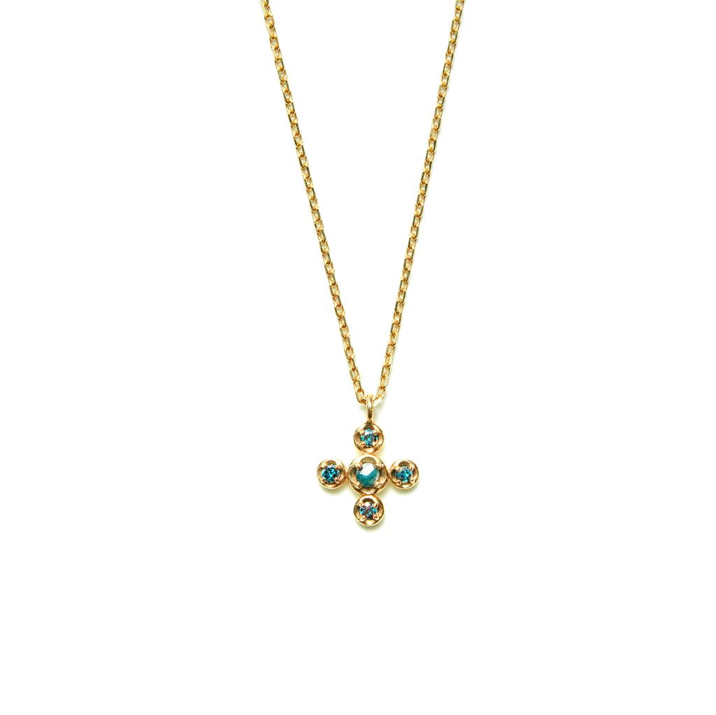 14k gold blue ruf diamond cross Necklace - LODAGOLD