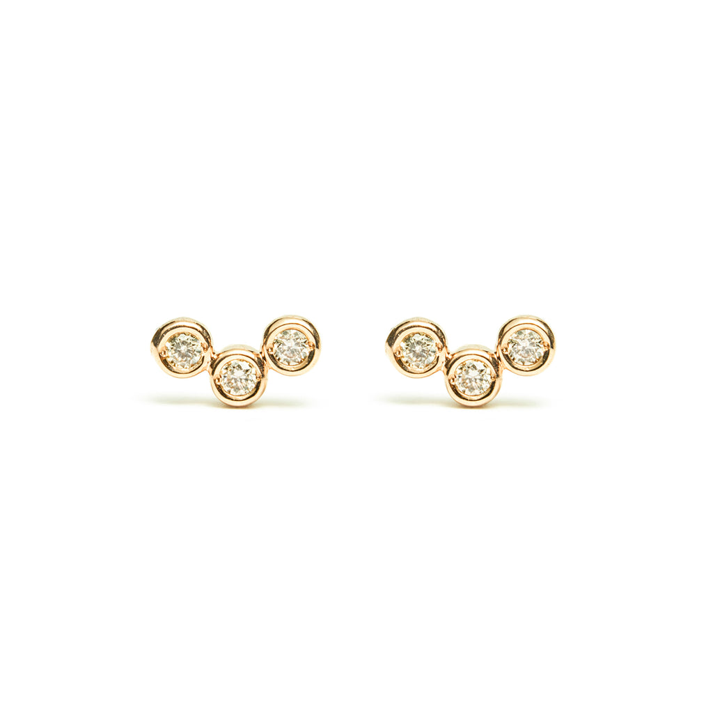 14k gold cognac diamond circle earrings - LODAGOLD